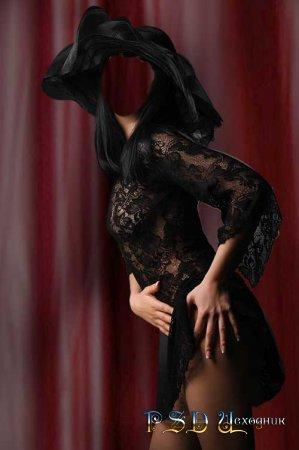 Фото коллаж  Девушка в чёрной вуали