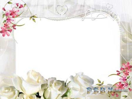 Фоторамка – Белые розы