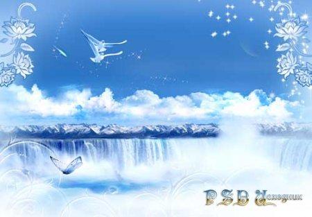 Небесный водопад  PSD исходник