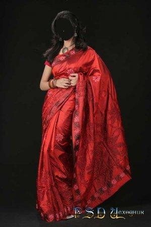 Фото коллаж  Красное сари
