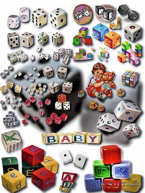 Фотошоп Png клипарты - Детские кубики и кости