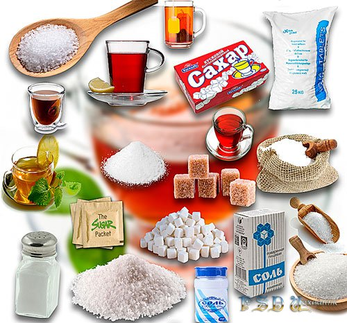 Растровые клипарты - Сахар, соль и чай