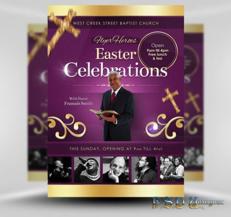 Easter Celebrations psd flyer template