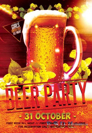 Beer Party psd flyer template