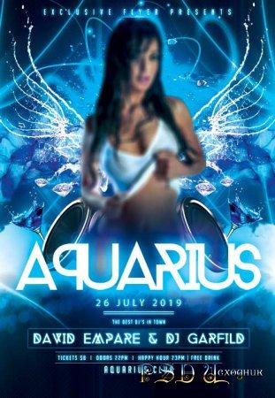 Aquarius night psd flyer template