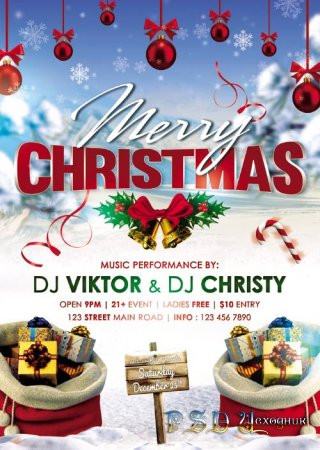 Happy Christmas celebration psd flyer template