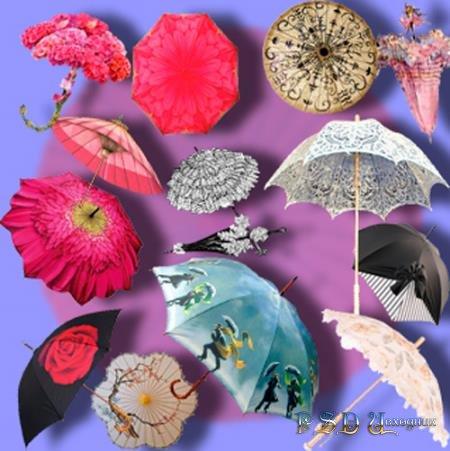 Клипарты на прозрачном фоне - Летние зонтики